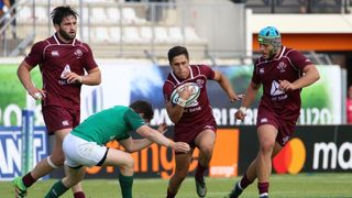 Tedo Abzhandadze makes a break against Ireland at the World Rugby U20 Championship 2018 in France.