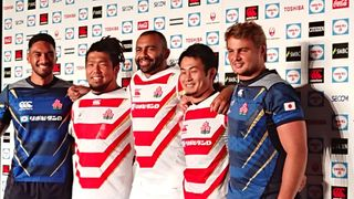 Japan players smiling in a new  jersey for RWC 2019