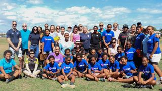 Namaka Public School GIR Plus girls with participants of the Oceania Rugby women in leadership participants