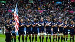 USA team and flag at RWC 2015
