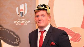 Rhys Carre after being presented with his cap