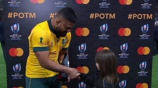Tolu Latu wins Mastercard Player of the Match for Australia