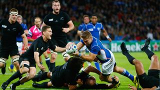 Johan Deysel scores Namibia's try against New Zealand at the 2015 Rugby World Cup