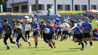 Genkai Junior Rugby Club in action during XRugby tournament in Fukuoka