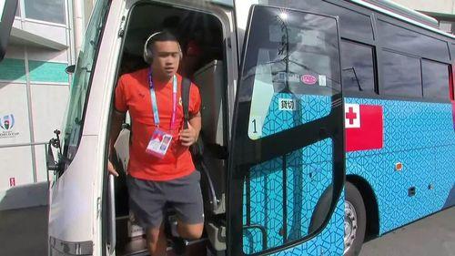 Tonga arrive at Hanazono stadium for match with USA