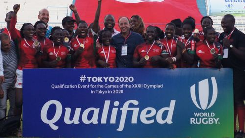 Photo of Kenya Lionesses celebrating qualifying for Toyko 2020