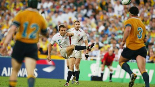 Photo of Jonny Wilkinson kicking the drop goal in extra time that gives England a 20-17 victory over Australia in the final of Rugby World Cup 2003