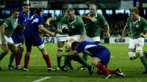 Victor Costello on the charge for Ireland