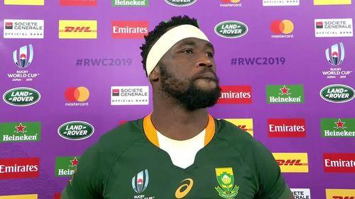 South Africa Captain Siya Kolisi reacts after reaching the RWC 2019 final