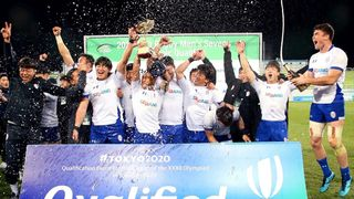Asia Rugby Olympic qualifier trophy lift: Korea men