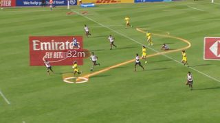 Ellia Green runs over 100m to score against Fiji