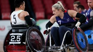 Photo of Kylie Grimes playing for Great Britain Wheelchair Rugby