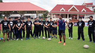 Lote Raikabula during Rugby Clinic on Tour 2020