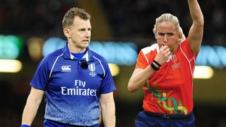 NIgel Owens and Joy Neville image