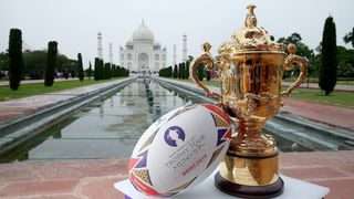 Photo of the Webb Ellis Cup at the Taj Mahal in Agra during the Rugby World Cup 2019 Trophy Tour