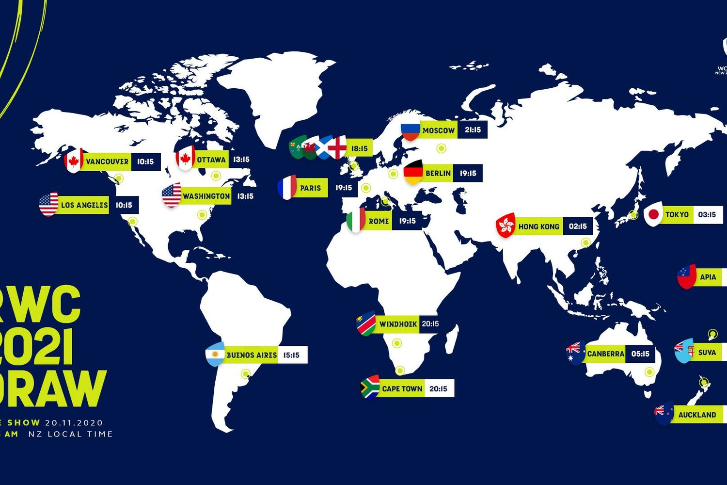 RWC 2021 Draw - Time zone map graphic