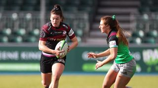 Alysha Corrigan in action for Saracens v Harlequins