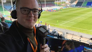 Rugby commentator Nick Heath