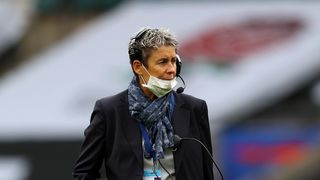 Photo of France coach Annick Hayraud during England v France in the Autumn International Series