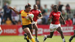 Papua New Guinea's Marie Biyama on the attack
