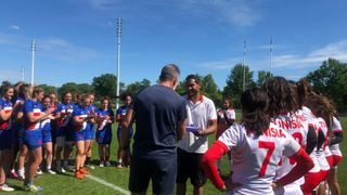 Photo of the France and Tunisia sides during a training camp at Marcoussis