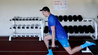 Brodie Retallick of the All Blacks runs through drills during a training session