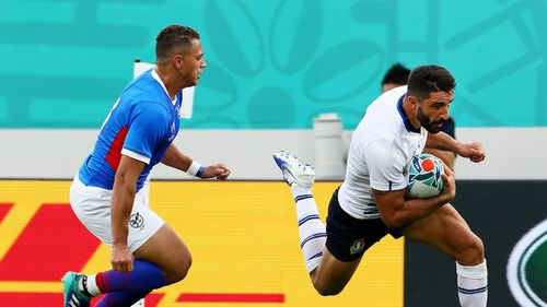 Tito Tebaldi scores a try for Italy v Namibia - Rugby World Cup 2019: Group B