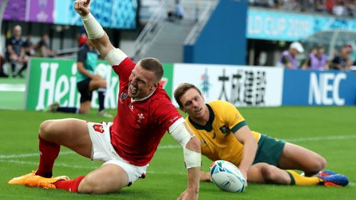 Australia v Wales - Rugby World Cup 2019: Hadleigh Parkes celebrates his try