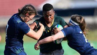 Photo of captain Babalwa Latsha playing for South Africa against Scotland