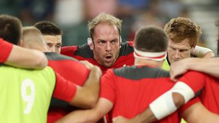 Wales v Fiji - Rugby World Cup 2019: Captain Alun Wyn Jones leads the team talk