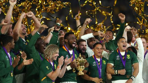 Photo of South Africa lifting the Webb Ellis Cup at the Rugby World Cup 2019 Final