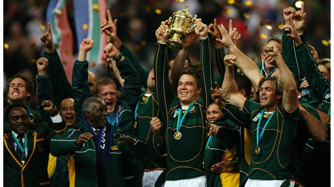 John Smit (RSA) lifts Webb Ellis Cup - ENG v RSA - RWC 2007 Final