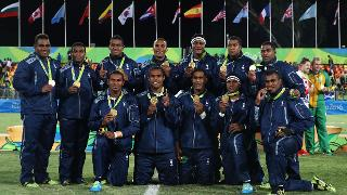 Gold medallists Fiji pose during the Rio 2016 Olympic Games medal ceremony for the Men's Rugby Sevens