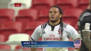 Try, Mike Te'o, USA v New Zealand