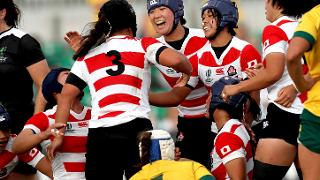 Japan players celebrate with Saki Minami following their opening try 17/8/2017