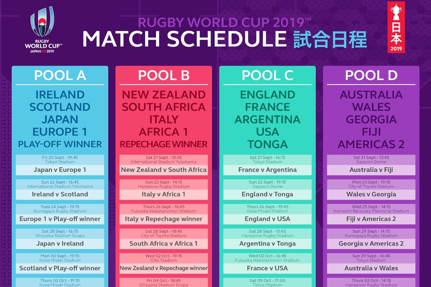 Rugby World Cup 2019 match schedule announced as fans start