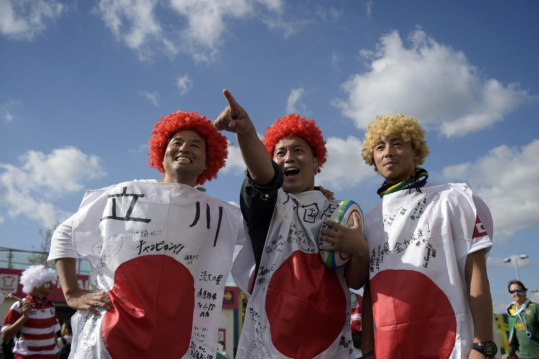 Japanese fans at RWC2015 ahead of RSA v JPN match in Brighton